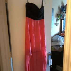 Pink and Black High Low Dress